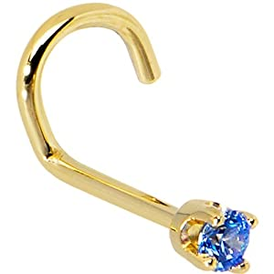 Solid 14KT Yellow Gold 2mm Arctic Blue Cubic Zirconia Left Nostril Screw- 20 Gauge