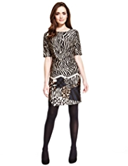 Petite Side Pleated Animal Print Dress