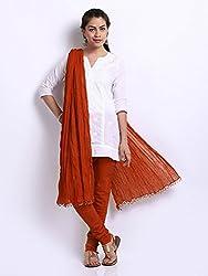 MemSahiba Women Plain Cotton Chudidaar Dupatta Combo (MS-1386_Rust)