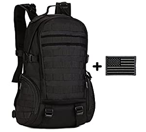 ArcEnCiel 35L Camping bags Waterproof Molle Backpack Military 3P Gym School Trekking Ripstop Woodland Tactical Gear for Men with Patch