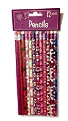 Valentines Day Holiday Theme Pencils 12 Pack - Varied Styles