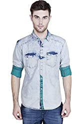 Showoff Men's Full Sleeves Slim fit Green Solid Casual Shirt