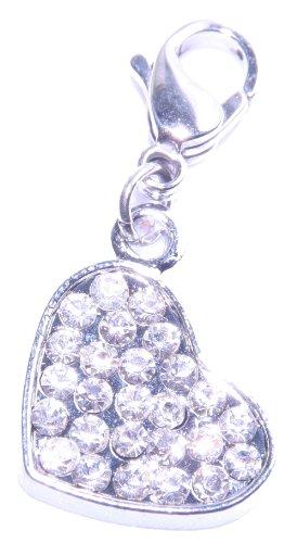 Ladies Stainless Steel Charm Pendant Heart, silver, silver for charm bracelet, rhinestones