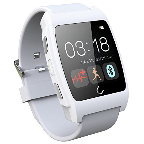 Luxsure® White Uwatch UX Smart Watch with Heart Rate Monitor Android Smart Watch Phone Sports Bluetooth Wristwatch With 3G magsensor gravity sensor Compatible With IOS & Android for Apple iphone 4/4S/5/5C/5S Samsung S2/S3/S4/Note 2/Note 3