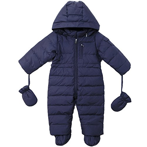 Oceankids Baby Boys Girls Navy Blue Pram One-Piece Snowsuit Attached Hood 12M 9-12 Months