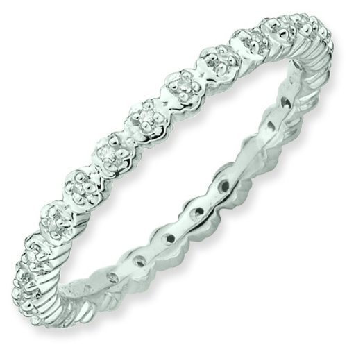 Size 6 - Diamond Accent 2.25mm Eternity Band Sterling Silver Stackable Ring