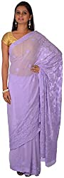 knool Women's Georgette Saree With Unstitched Blouse Piece (Light purple) (CPCSA01)