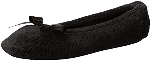 isotoner-womens-terry-ballerina-slipper-black-large-8-9-m-us