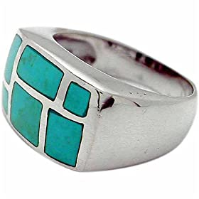Sterling Silver Geometric Turquoise Inlay Ring