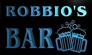 w146823-b ROBBIO'S Name Home Bar Pub Beer Mugs Cheers Neon Light Sign