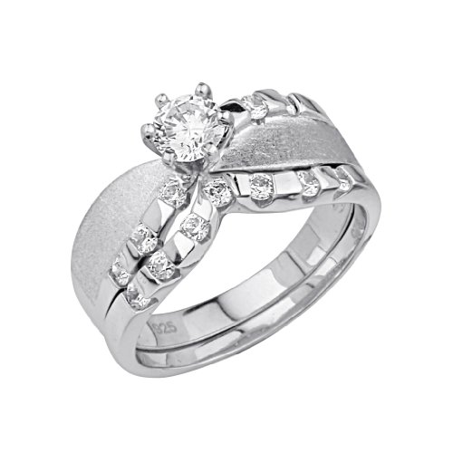 .925 Sterling Silver CZ Solitaire Wedding Engagement Ring and Matching Band 2 Pieces Set - Size 7