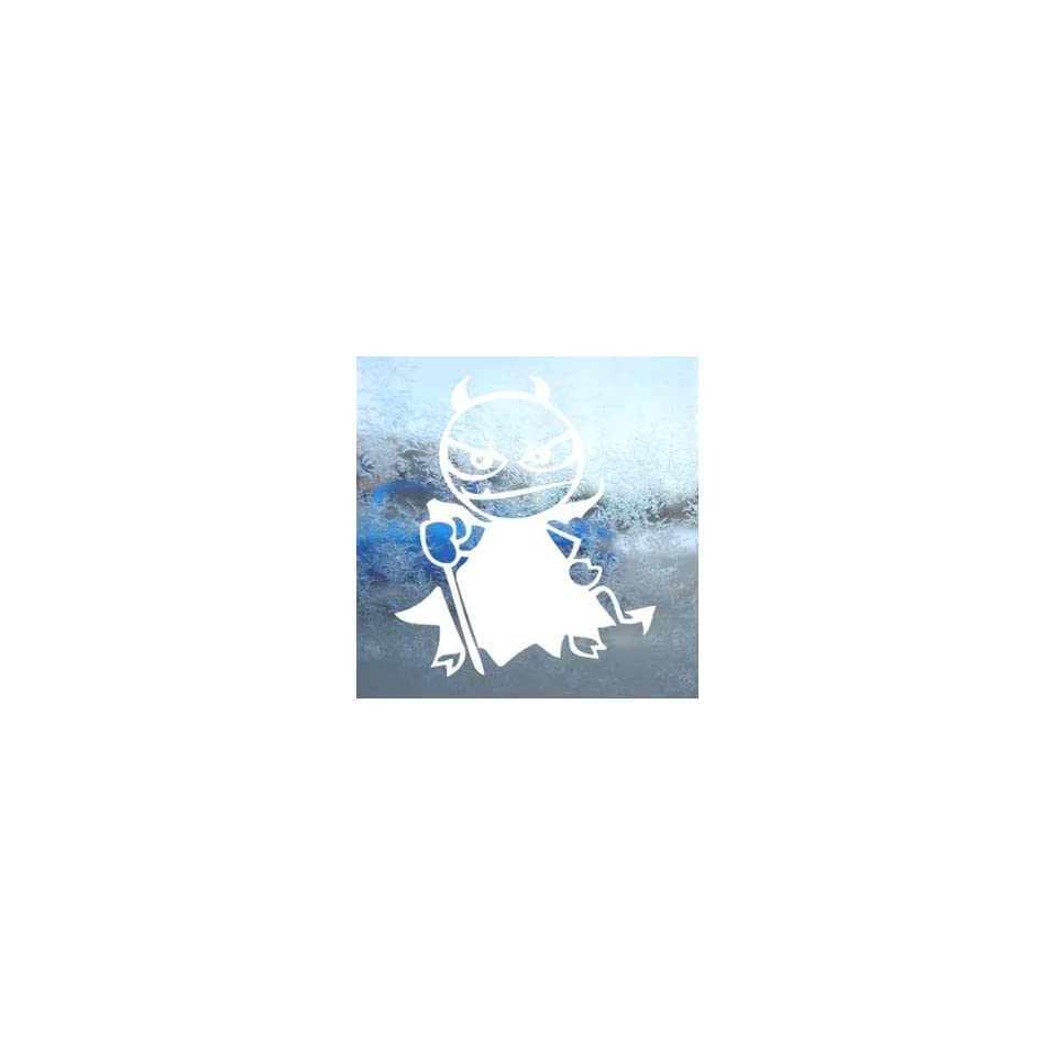 LITTLE DEVIL White Decal Car Laptop Window Vinyl White Sticker