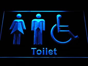 Unisex Toilet with Disabled Accessible Restroom Washroom LED Sign Neon