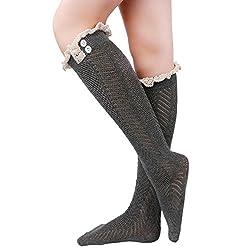 Tirain Knee High Button Crochet Boot Socks with Lace Trim Soft Knit Leg Warmer