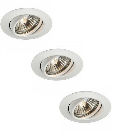 kit 3 faretti da incasso Massive orientabili foro di taglio diametro 74mm con 3 lampade GU10 220V 50W incluse (Bianco Lucido)