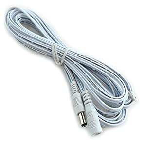HitLights DC Extension Cable 16.4 Ft - For Single Color Light Strips and DC connections - White ...