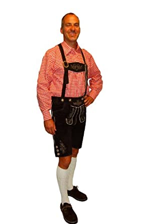Lederhosen Costume Bavarian Lederhosen Outfit for Oktoberfest KURT - 38 - Dark Brown