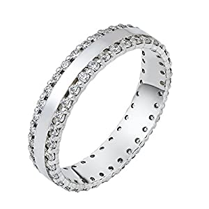 Mens Sterling Silver, Pave Edged 5MM Wedding Band, 1 cttw (sz 12)