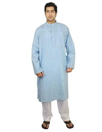 Amazon.com: Handmade Cotton Men's Kurta Pajamas Set Blue ...
