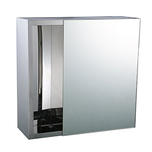 "HomCom 16"" x 16"" Stainless Steel Bathroom Mirror / Medicine Cabinet w/ Tissue Dispenser and Outer Storage"