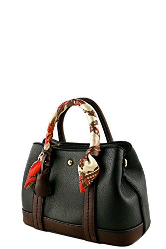 womens-designer-faux-leather-mini-top-handle-bag-with-scarf-va2022-black