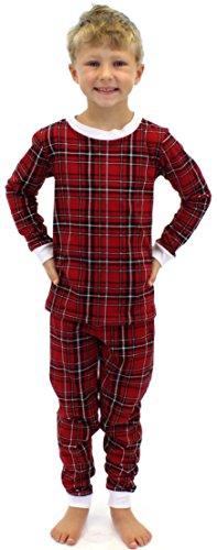 Sleepytimepjs Kids Christmas Pajamas-Red Plaid-4 front-659424