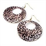 Pink Tone Animal Print Shell Look Gold Earring