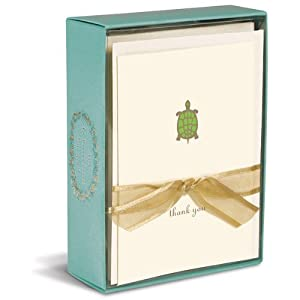 """Graphique - Turtle Boxed Thank You Notes, 4.25 x 5.5"""", Cream, box of 10"""