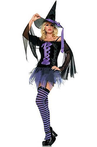 GALHAM - DHL Sexy Black Purple Off Shoulder Witch Halloween Fancy Dress Costume