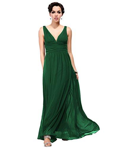 Ever Pretty Womens Semi Formal V Neck Sleeveless Wedding Guest Dress 12 US Dark Green