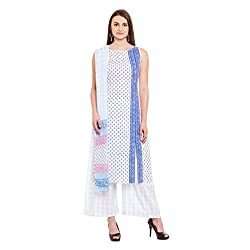 Pinkshink White Hand Block Printed Cotton Salwar Kameez Dress Material k108