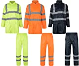 Hi Viz Rainsuit Waterproof Jacket Trouser Set Mens Coat StormWorkwear RRP £30!! (Large ( L ), Orange)