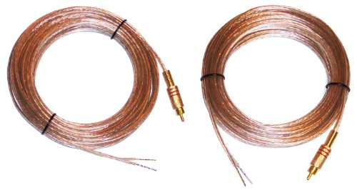 Microsound - 20 Feet 18Awg Pair Speaker Wires With Rca Male Plugs On One End