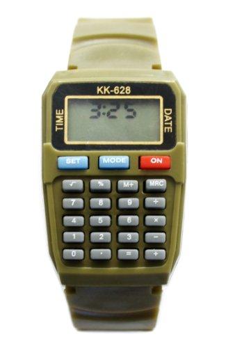 "Olive Khaki Green Calculator Wrist Watch 5 3/4"" To 8 1/2"""