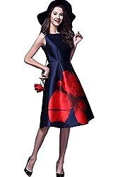 Floral Printing Boat Neck Sleeveless Satin Midi Dress ( Semi Stitched )