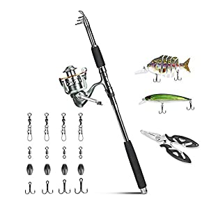 Rose Kuli® Fishing Rod Kits Include 1pcs Spin Spinning Carbon Fishing Rod Pole 1pcs 12+1 Stainless Steel Ball Bearings Fishing Reel 2pcs Bass Bait Hard Lures 1pcs Fishing Plier and Other Accessories