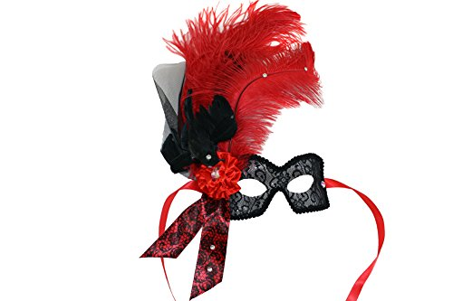 Crowe w/feathered Crow Scary Women's Red Feathered Masquerade Mask
