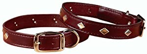 "Hamilton 1/2"" x 14"" Diamond Pattern Studded Burgundy Leather Dog Collar"