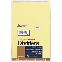 Post Binder Dividers, 6-Tab w/Inserts, 11 x 17, Clear, 6/Set