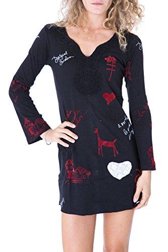 DESIGUAL - Vestito donna nero manica lunga sandy xl nero