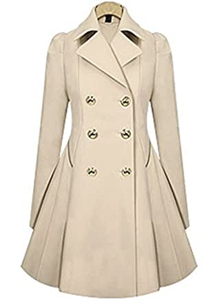 Women Trench Coat Abrigos Mujer Slim Double Breasted (Beige) (L) at