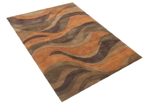 ZnZ Rugs Gallery 30056-8x10 Handmade New Zealand Blend Wool Rug, 8 by 10-Feet, Rust