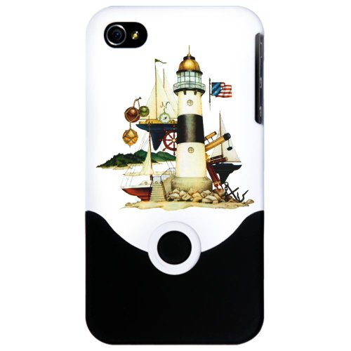 Iphone 4 Or 4S Slider Case White Nautical Vintage Lighthouse Telescope Steering Wheel Anchor And Ships