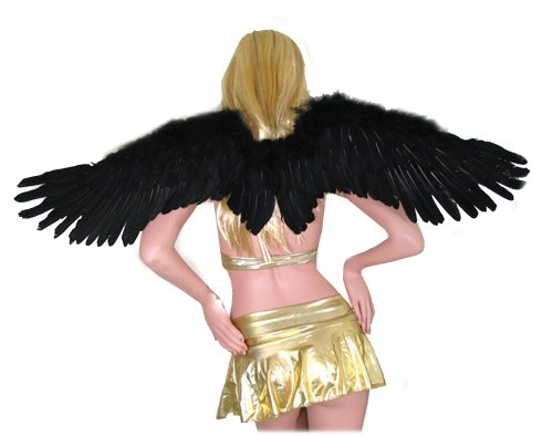 SACAS Large Black Feather Angel Wings for adults w/Free Halo