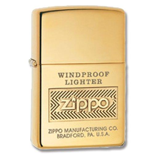 Zippo Logo High Polish Brass Lighter (Gold, 5 1/2X3 1/2-Cm)