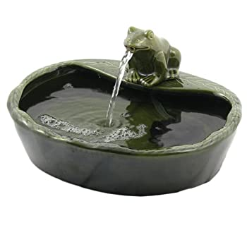 Sunnydaze Solar Water Fountain, Outdoor Garden Ceramic Frog Feature