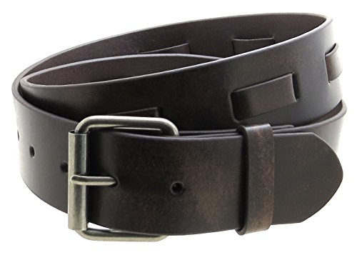 """Vintage Style Leather Belt with Woven Leather Strip 1.5"""" Wide (Brown-L/XL)"""
