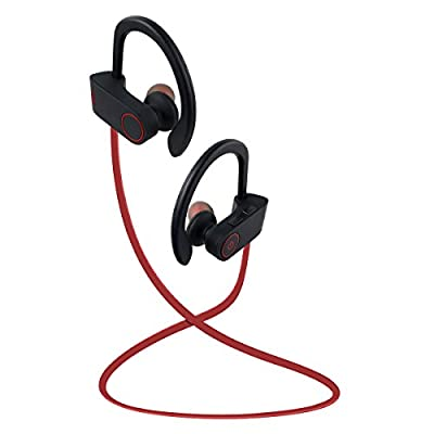 Bluetooth Headphones, Otium® Beats Wireless Stereo Bass Sports Gym Exercise Sweatproof Earbuds Runner Headsets With Mic for Apple iPhone Android Samsung HTC and Other Bluetooth Devices (Red)