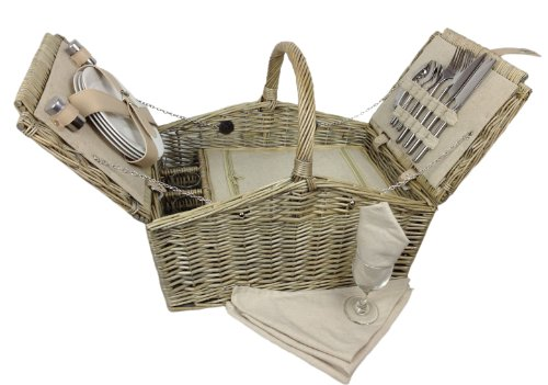 Deluxe Retro Double Lidded Wicker Fitted Picnic Basket 0