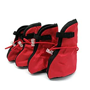 Protective Red Winter Pet Boots Dogshoes Booties Large